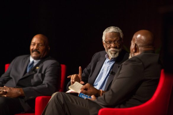 Photo of Dr Harry Edwards interviewing Bill Russell and Jim Brown.